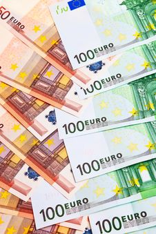 100 And 50 Euro Banknotes. Stock Image