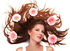 Woman And Gerbera Stock Photos