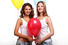 Free Girlfriends And Balloons Royalty Free Stock Images - 14208219
