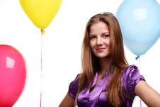Free Woman And Balloons Stock Photo - 14208330