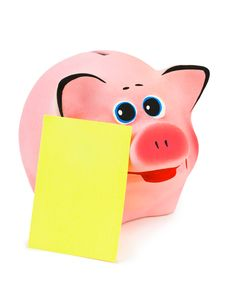 Free Piggy Bank And Note Paper Royalty Free Stock Image - 14208676
