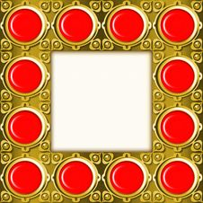 Free Golden Frame With Red Stones Royalty Free Stock Photography - 14208907