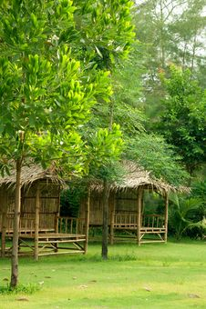 Free Bamboo Hut In The Garden Stock Image - 14209121