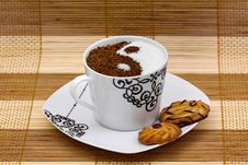 Free Yin Yang Coffee With Cookies Stock Image - 14209211