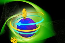 Free Globe And Dollar Rotating Arrows Royalty Free Stock Photography - 14210007
