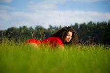 Free Pretty Woman On The Grass Stock Image - 14210081