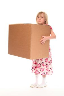 Young Little Girl Holding Box Royalty Free Stock Photo