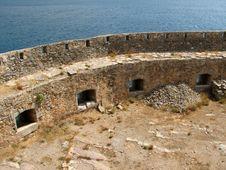 Medieval Wall Near Sea -Spinalonga Island Stock Photo