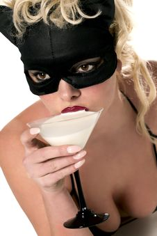 Free Blond Model Wearing Black Cat, Drinking Milk Royalty Free Stock Photography - 14211377