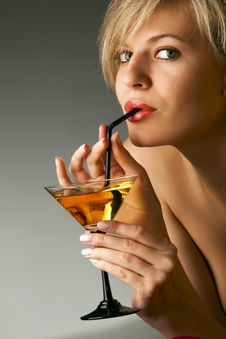 Free Woman With Glass Of Cocktail Stock Photography - 14211532