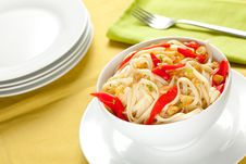 Spaghetti Bowl With Garlic And Pepper Stock Photography