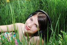 Girl In Summer Meadow Stock Photo