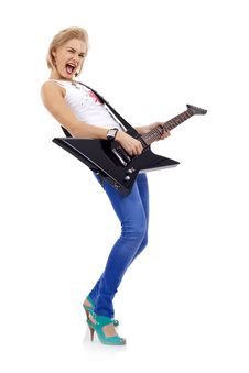 Free Blonde With A Guitar Royalty Free Stock Photography - 14213017