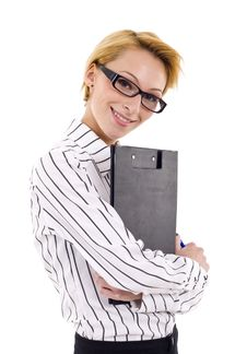 Free Woman Holding Clipboard Royalty Free Stock Image - 14213026