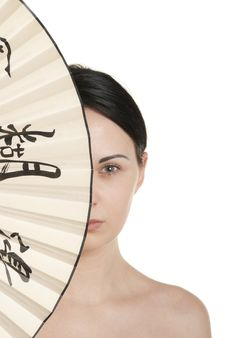 Free Young Woman Covered With Fan Stock Photo - 14213890