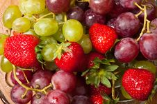 Fresh Strawberries And Grapes Stock Photography