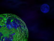 Free Green Planet, Blue Moon Royalty Free Stock Image - 14214566
