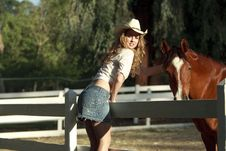 Free Cowgirl And A Horse Stock Images - 14215054