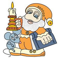 Free Good Gnome With A Book, A Mouse And A Candle. Stock Photography - 14215272