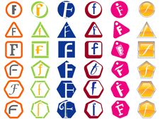 Letter F Icons Badges And Tags Stock Photos