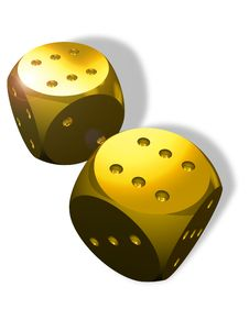 Free Two Golden Dice Stock Photo - 14217710