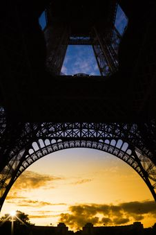 Free Orange Sunset Under Eiffel Tower Royalty Free Stock Images - 14218839