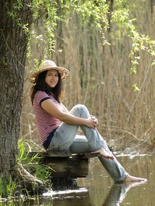 Free Girl Resting Near Lake Royalty Free Stock Image - 14219766