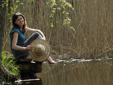 Free Girl Resting Near Lake Royalty Free Stock Photo - 14219855