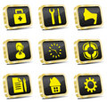 Free Computer Golden Web Icon Set Royalty Free Stock Images - 14221249