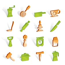 Free Kitchen And Household Tools Icons Royalty Free Stock Photo - 14220615