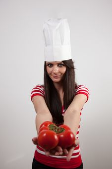Free Lovely Girl Wearing Cook Cap Stock Photography - 14221412