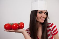 Free Lovely Girl Wearing Cook Cap Stock Photo - 14221440