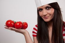Free Lovely Girl Wearing Cook Cap Royalty Free Stock Image - 14221456