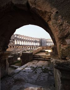Ancient Roman Arena In Pula Stock Photography