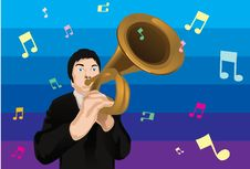 Pitch It High With A French Horn Stock Photo