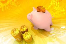 Free Piggy Bank And Gold Coins Stock Photography - 14222812