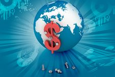 3d Globe Dollar Sign Stock Images