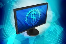 Free TFT Monitor And Dollar Sign Royalty Free Stock Photos - 14222818