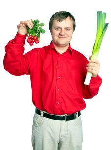 Man With Vegetable: Onion  Leek And Fresh Radish Stock Images