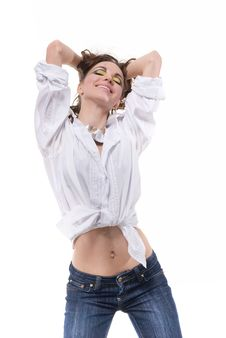 Free Sexy Woman In White Shirt Isolated Royalty Free Stock Photo - 14223825