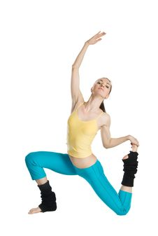 Beautiful Girl Doing Gymnastics On White Royalty Free Stock Photo