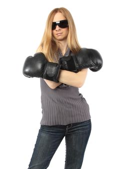 Free Blond Woman Wearing Boxing Gloves Royalty Free Stock Image - 14224286