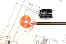 Sharpener, Pencil And Blueprint Stock Photo