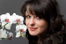Free Girl With Phalaenopsis Stock Image - 14224611