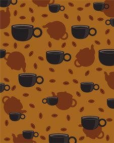 Free Coffee Cups And Kettles Classic Wallpaper Royalty Free Stock Photography - 14224997
