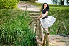 Free Girl On The Bridge Royalty Free Stock Images - 14225659