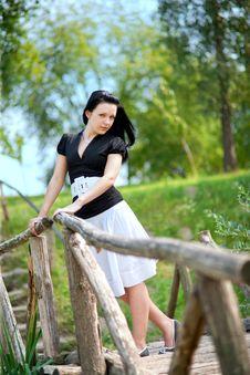 Girl On The Bridge Stock Photography