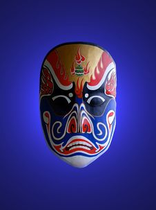 Mask Of Chinese Opera With Blue Background
