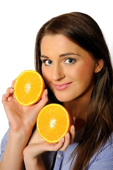 Young Beautiful Woman With Citrus Orange