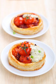 Tartlets With Cherry Tomatoes Stock Photography
